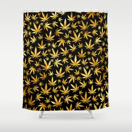 Black Gold Weed Pattern Shower Curtain