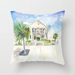 Pastel Colored Conch Houses in Whitehead Street Key West Throw Pillow
