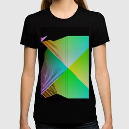RGB (red gren blue) pixel grid planes crossing at right angles T-shirt