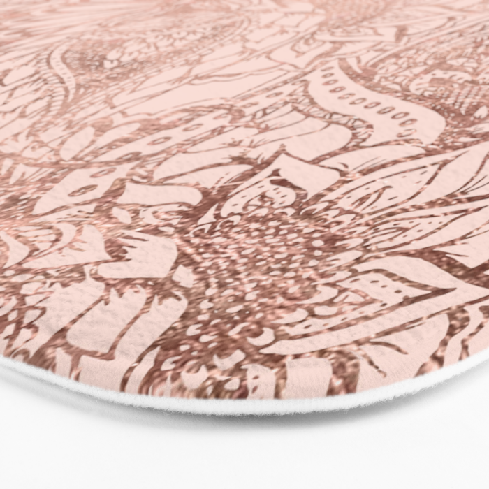 modern rose gold floral illustration on blush pink bath mat by