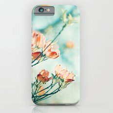 Teal Peach Coral Flower Photography, Aqua Turquoise Orange Dogwood Floral Nature Art Slim Case iPhone 6s