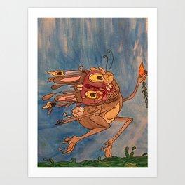 Sven the prancing Rabbit Art Print