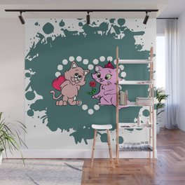 cats couple gift for valentine day Wall Mural