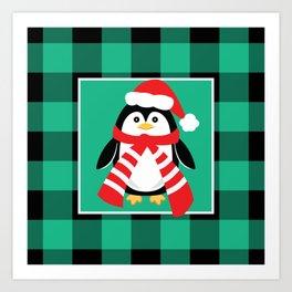 Christmas Penguin Buffalo Plaid Art Print
