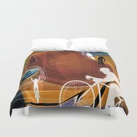 cycling Duvet Covers featuring Cycling by Robin Curtiss