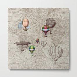 Balloon Festival Brown Metal Print