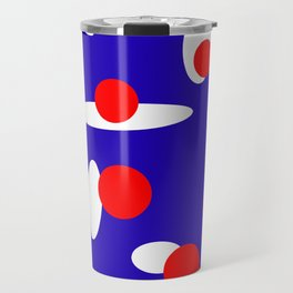 Abstract Red White and Blue Spots Travel Mug