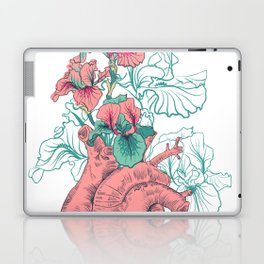 drawing Human heart with flowers Laptop & iPad Skin