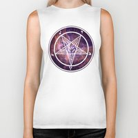 pentagram Biker Tanks featuring Pentagram Galaxy by Parin Cashmony