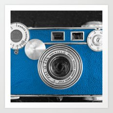Dazzel blue Retro camera Art Print