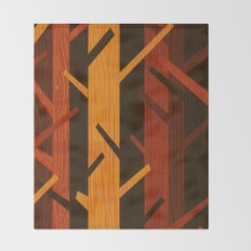 Retro Fall Woods by Friztin Throw Blanket