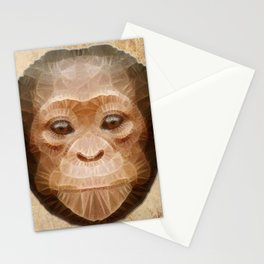 abstract baby chimpanzee Stationery Cards