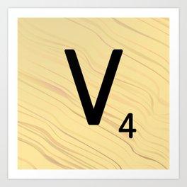 Scrabble V Initial - Large Scrabble Tile Letter Art Print
