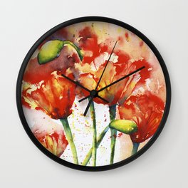 Lush Orange Spring Poppies Wall Clock