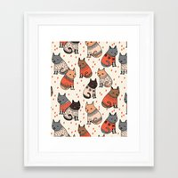 sweater Framed Art Prints featuring Sweater Cats - by Andrea Lauren by Andrea Lauren Design