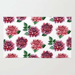 Dahlia Watercolor flowers Red floral pattern Gift for her Botanical art Сhrysanthemum Rug