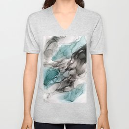 Smoky Grays and Green Abstract Flow Unisex V-Neck