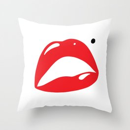 Sexy Lipstick Lips Kissing With A Beauty Spot Throw Pillow