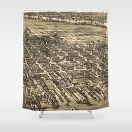 Vintage Pictorial Map of Hoboken NJ (1881) Shower Curtain