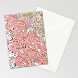 Vintage Map of Whittier California (1965) Stationery Cards