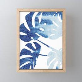 Navy Blue Tropical Leaf Framed Mini Art Print