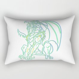 Triple neon glow Dragon Rectangular Pillow