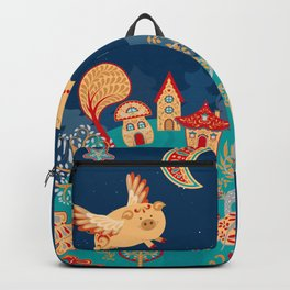 Flying pigs in the night, gnomes, fabulous houses, magical forest, mysterious planet. Backpack