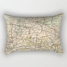 Old and Vintage Map of Germany Outline Rectangular Pillow