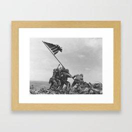 Raising The Flag On Iwo Jima Framed Art Print