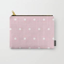 Big white polka dots pattern on light pink background Carry-All Pouch