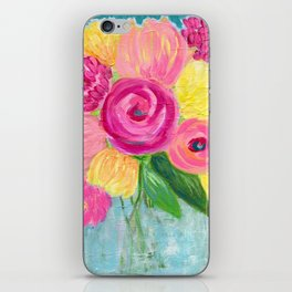 Bouquet of Flowers, Pink and Yellow Flowers, Painting Flowers in Vase iPhone Skin