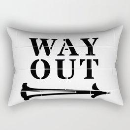 Way Out Sign, Subway Tiles, Right Arrow. Humour, Comedy. Rectangular Pillow