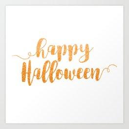 Happy Halloween | Orange Glitter Art Print