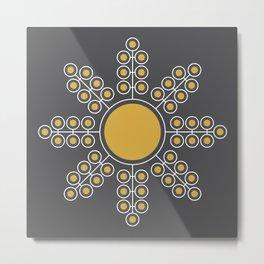 Minimalist Floral Circle, Spicy Mustard, Charcoal Black Metal Print
