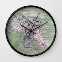 birdman Wall Clocks featuring blackdeath birdman by melissa E