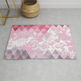 Abstract pink gray watercolor floral triangles Rug