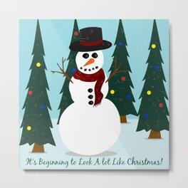 Snowman Christmas Trees Metal Print