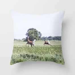 Whitetail Deer Doe and Fawn Throw Pillow