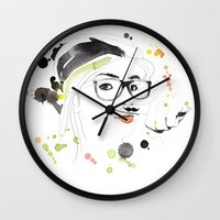 moustache Wall Clocks featuring Moustache by Jana Bonsignore Illustration