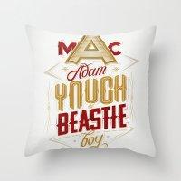 beastie boys Throw Pillows featuring ∞ Adam Yauch • No way! I'm a Beastie Boy ∞ by Fabio Persico