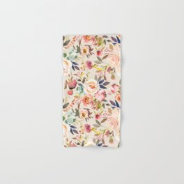 Hand painted ivory pink brown watercolor country floral Hand & Bath Towel