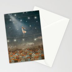 Illustration of  cute houses and  pretty girl   in night sky Stationery Cards