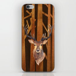 Proud deer in forest 1- Watercolor illustration iPhone Skin
