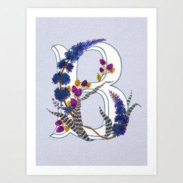 B is for Bromeliad & Buddleia Art Print