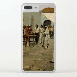 """Western Art """"Drawing of the Black Bean"""" by Frederic Remington Clear iPhone Case"""