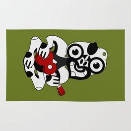 Black and Grey Hei Tiki playing a Ukulele Rug