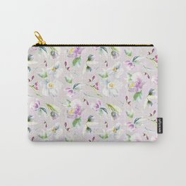 Pastel Floral in Cassia Purple and Blush Carry-All Pouch