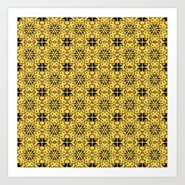 Primrose Yellow Star Geometric Art Print