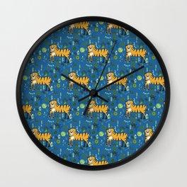 Jungle Tiger Blue Wall Clock