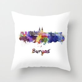 Burgos skyline in watercolor Throw Pillow